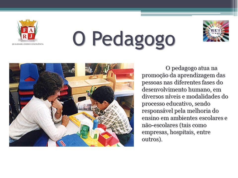 O Pedagogo O pedagogo atua na promoção da aprendizagem das pessoas nas diferentes fases do desenvolvimento humano, em diversos níveis e modalidades do