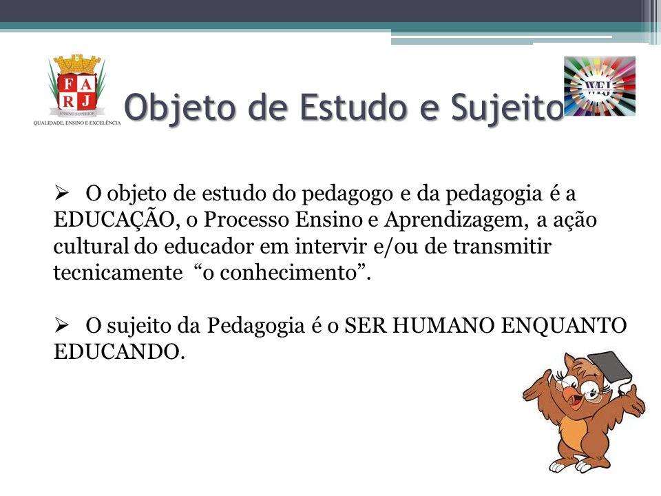 Objeto de Estudo e Sujeito O objeto de estudo do pedagogo e da pedagogia é a EDUCAÇÃO, o Processo Ensino e Aprendizagem, a ação cultural do educador e
