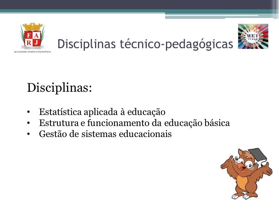 Disciplinas técnico-pedagógicas Disciplinas: Estatística aplicada à educação Estrutura e funcionamento da educação básica Gestão de sistemas educacion