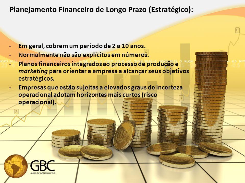 Planejamento Financeiro de Longo Prazo (Estratégico): Em geral, cobrem um período de 2 a 10 anos.