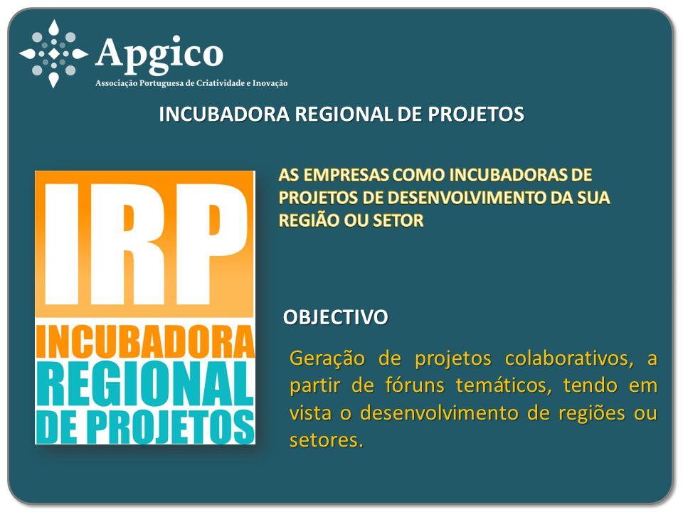 INCUBADORA REGIONAL DE PROJETOS Geração de projetos colaborativos, a partir de fóruns temáticos, tendo em vista o desenvolvimento de regiões ou setores.