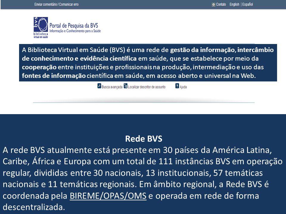 Rede BVS A rede BVS atualmente está presente em 30 países da América Latina, Caribe, África e Europa com um total de 111 instâncias BVS em operação re