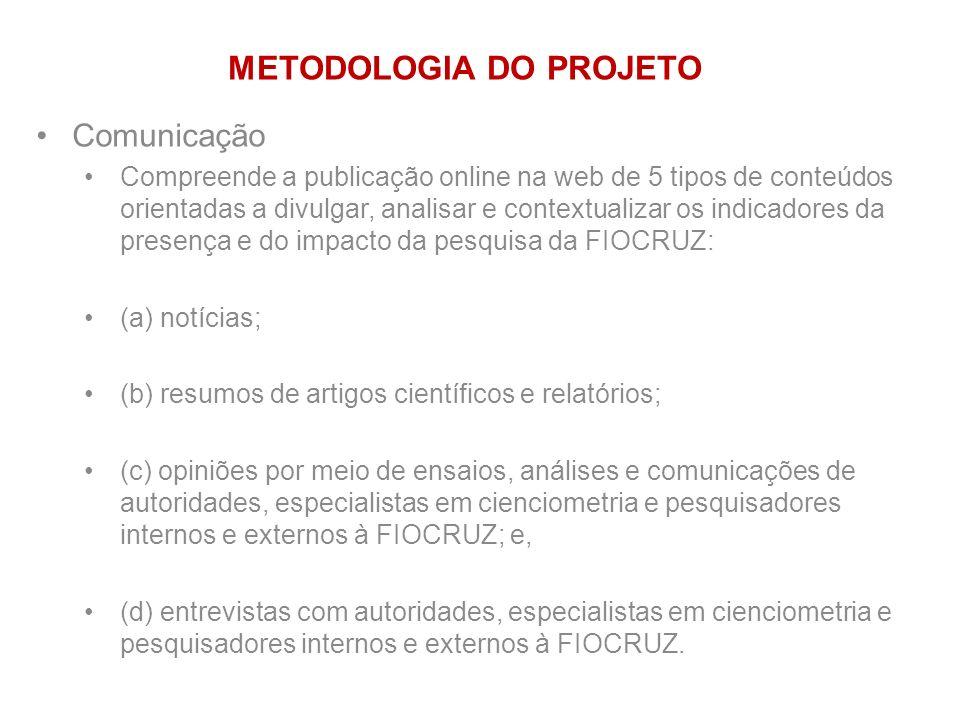 Comunicação Compreende a publicação online na web de 5 tipos de conteúdos orientadas a divulgar, analisar e contextualizar os indicadores da presença