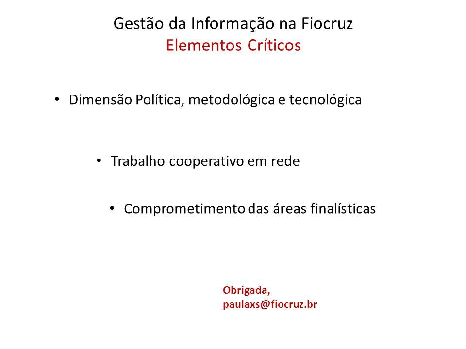 Gestão da Informação na Fiocruz Elementos Críticos Dimensão Política, metodológica e tecnológica Trabalho cooperativo em rede Comprometimento das área