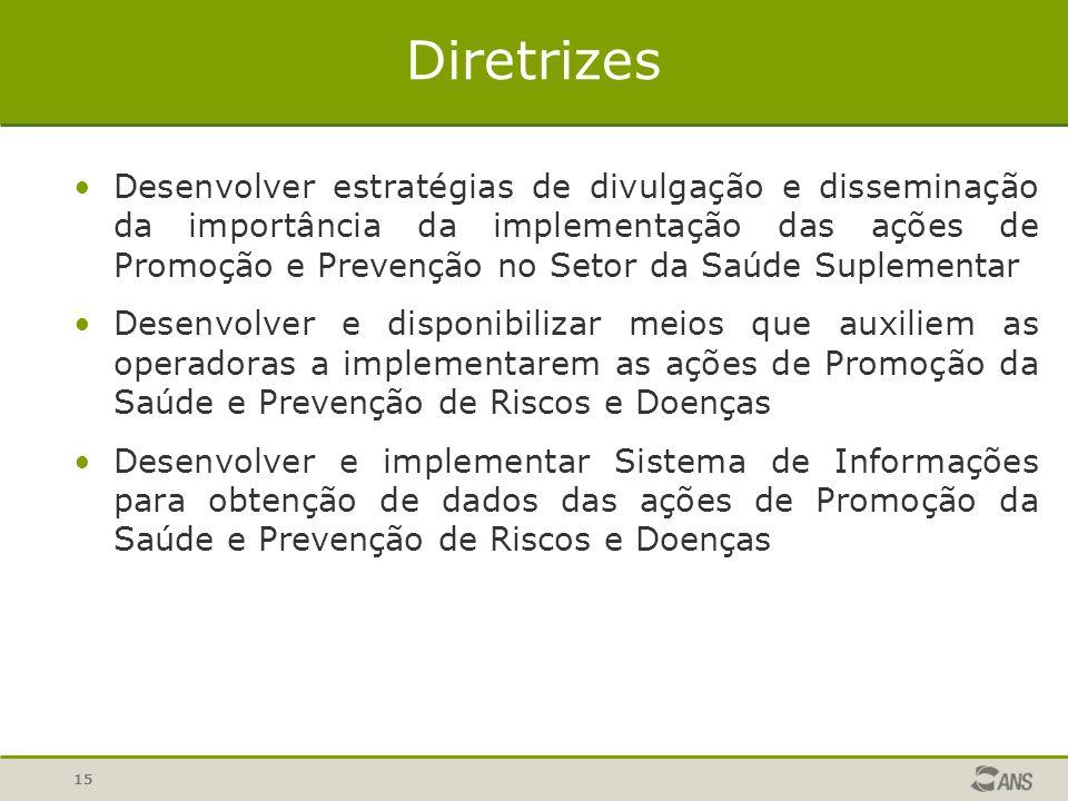 15 Diretrizes Desenvolver estratégias de divulgação e disseminação da importância da implementação das ações de Promoção e Prevenção no Setor da Saúde