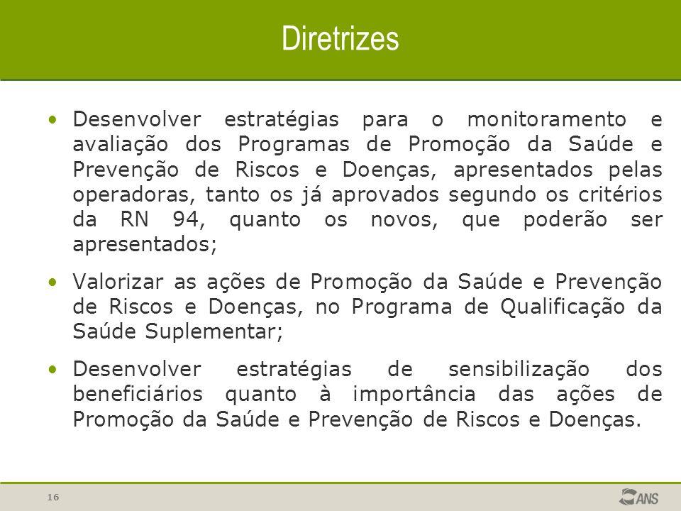 16 Diretrizes Desenvolver estratégias para o monitoramento e avaliação dos Programas de Promoção da Saúde e Prevenção de Riscos e Doenças, apresentado