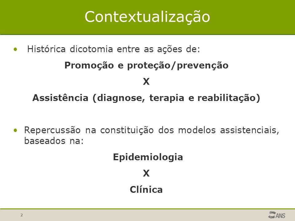 2 Contextualização Histórica dicotomia entre as ações de: Promoção e proteção/prevenção X Assistência (diagnose, terapia e reabilitação) Repercussão n