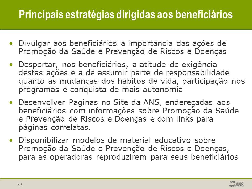 23 Principais estratégias dirigidas aos beneficiários Divulgar aos beneficiários a importância das ações de Promoção da Saúde e Prevenção de Riscos e