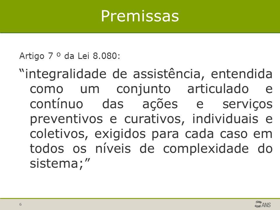6 Premissas Artigo 7 º da Lei 8.080: integralidade de assistência, entendida como um conjunto articulado e contínuo das ações e serviços preventivos e