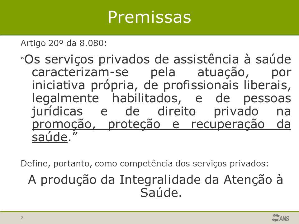 7 Premissas Artigo 20º da 8.080: Os serviços privados de assistência à saúde caracterizam-se pela atuação, por iniciativa própria, de profissionais li