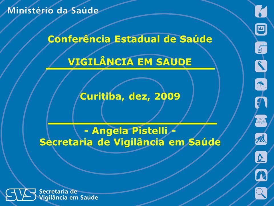 Conferência Estadual de Saúde VIGILÂNCIA EM SAUDE Curitiba, dez, 2009 - Angela Pistelli - Secretaria de Vigilância em Saúde