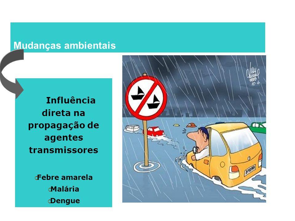 Mudanças ambientais Influência direta na propagação de agentes transmissores Febre amarela Malária Dengue