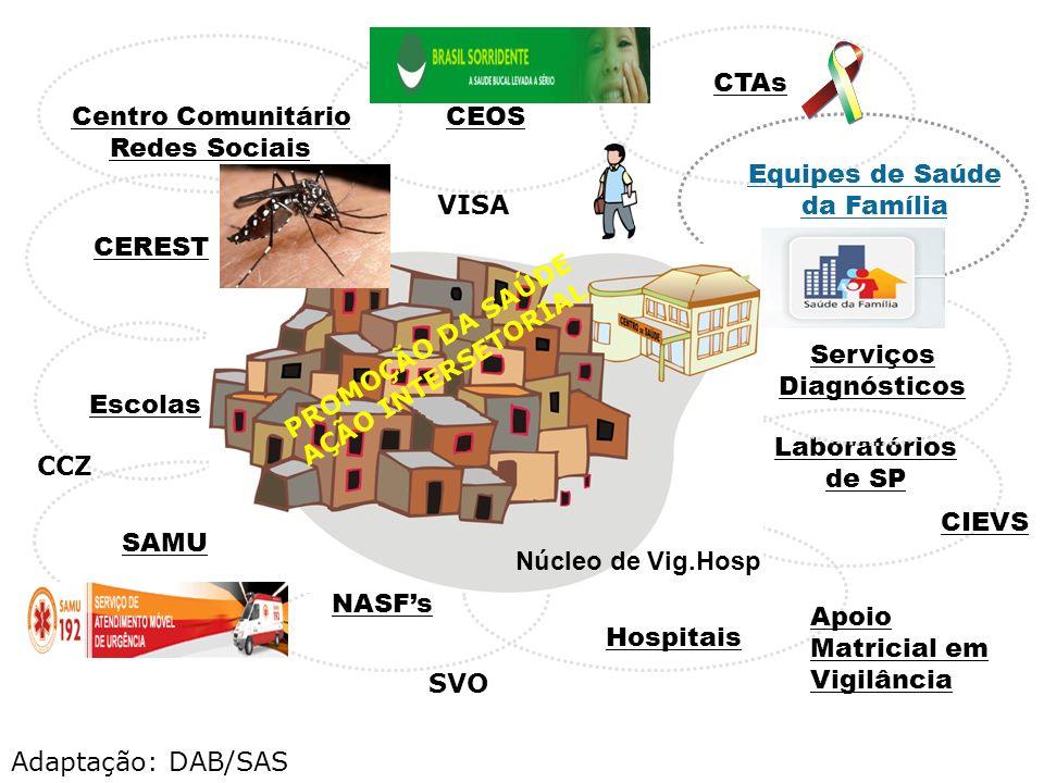 CEOS Laboratórios de SP Escolas Serviços Diagnósticos Hospitais CEREST SAMU NASFs Centro Comunitário Redes Sociais Equipes de Saúde da Família ACS Apo