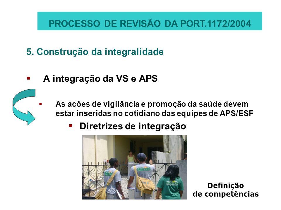 5. Construção da integralidade A integração da VS e APS As ações de vigilância e promoção da saúde devem estar inseridas no cotidiano das equipes de A