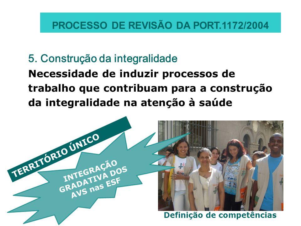 5. Construção da integralidade Necessidade de induzir processos de trabalho que contribuam para a construção da integralidade na atenção à saúde Defin