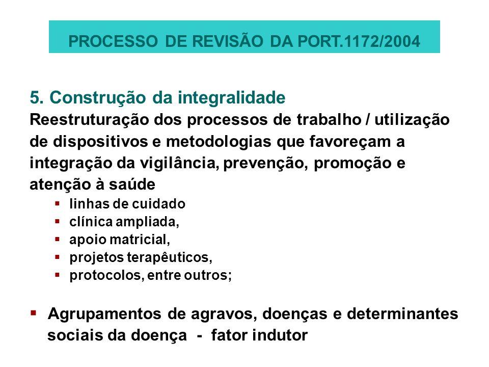 5. Construção da integralidade Reestruturação dos processos de trabalho / utilização de dispositivos e metodologias que favoreçam a integração da vigi