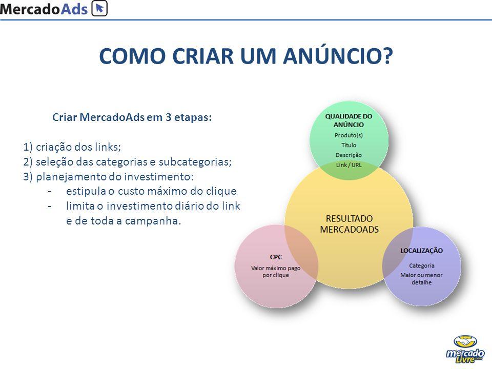 COMO CRIAR UM ANÚNCIO? 10 Criar MercadoAds em 3 etapas: 1) criação dos links; 2) seleção das categorias e subcategorias; 3) planejamento do investimen