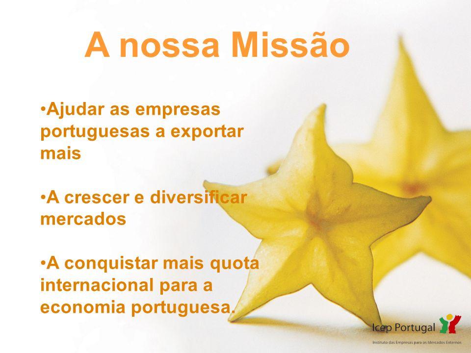 A nossa Missão Ajudar as empresas portuguesas a exportar mais A crescer e diversificar mercados A conquistar mais quota internacional para a economia