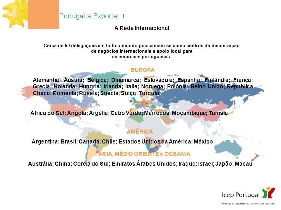 A Rede Internacional Cerca de 50 delegações em todo o mundo posicionam-se como centros de dinamização de negócios internacionais e apoio local para as empresas portuguesas.
