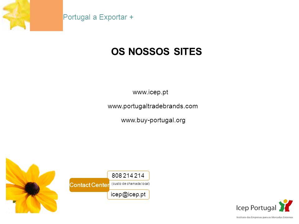Portugal a Exportar + OS NOSSOS SITES www.portugaltradebrands.com www.buy-portugal.org www.icep.pt (custo de chamada local) 808 214 214 Contact Center