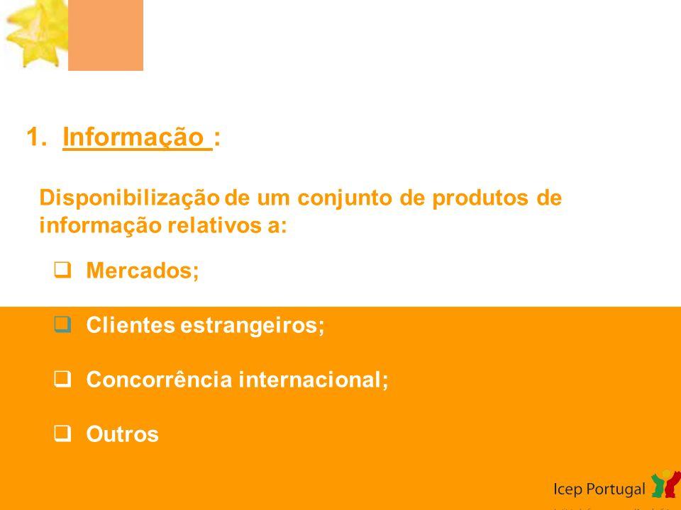1. Informação : Disponibilização de um conjunto de produtos de informação relativos a: Mercados; Clientes estrangeiros; Concorrência internacional; Ou