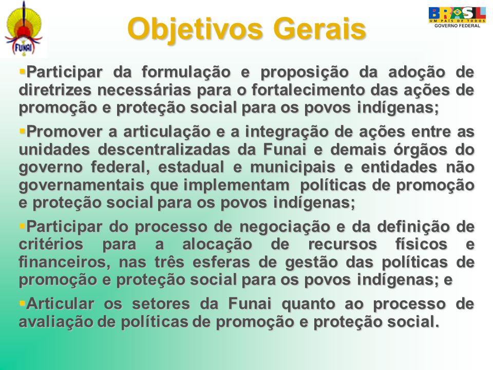 Objetivos Gerais Participar da formulação e proposição da adoção de diretrizes necessárias para o fortalecimento das ações de promoção e proteção soci