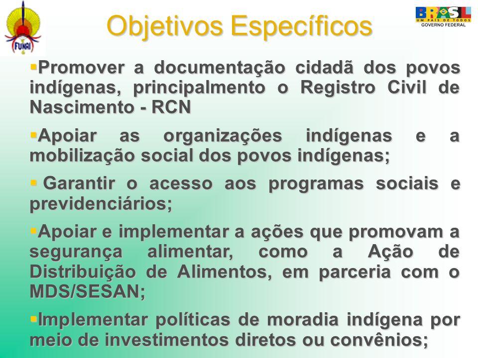 Objetivos Específicos Promover a documentação cidadã dos povos indígenas, principalmento o Registro Civil de Nascimento - RCN Promover a documentação