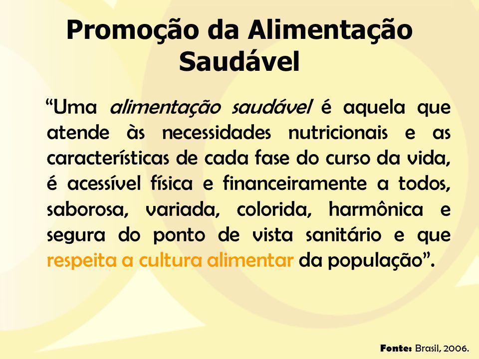 Promoção da Alimentação Saudável Uma alimentação saudável é aquela que atende às necessidades nutricionais e as características de cada fase do curso