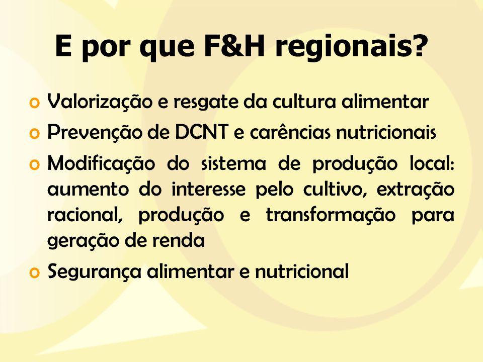 E por que F&H regionais? oValorização e resgate da cultura alimentar oPrevenção de DCNT e carências nutricionais oModificação do sistema de produção l