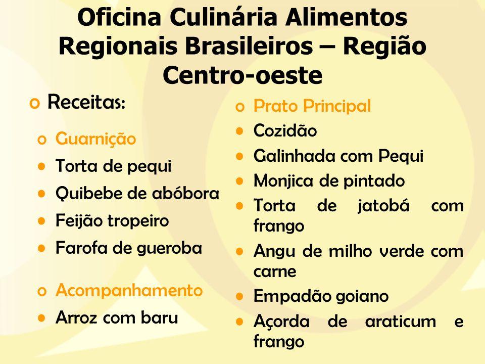 Oficina Culinária Alimentos Regionais Brasileiros – Região Centro-oeste oPrato Principal Cozidão Galinhada com Pequi Monjica de pintado Torta de jatob