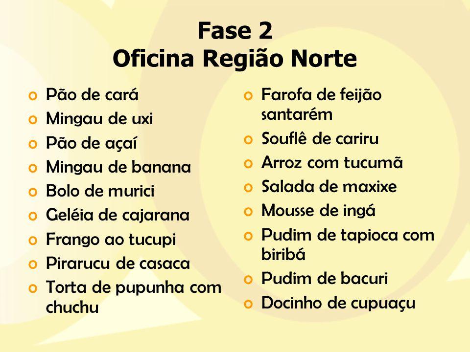 Fase 2 Oficina Região Norte oPão de cará oMingau de uxi oPão de açaí oMingau de banana oBolo de murici oGeléia de cajarana oFrango ao tucupi oPirarucu