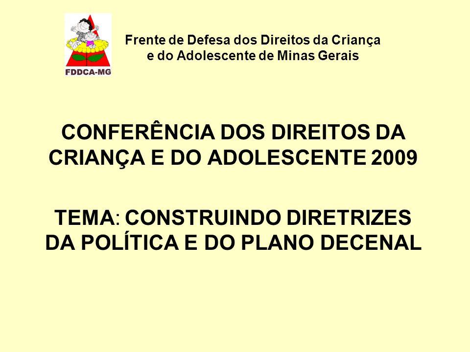 Frente de Defesa dos Direitos da Criança e do Adolescente de Minas Gerais CONFERÊNCIA DOS DIREITOS DA CRIANÇA E DO ADOLESCENTE 2009 TEMA: CONSTRUINDO DIRETRIZES DA POLÍTICA E DO PLANO DECENAL