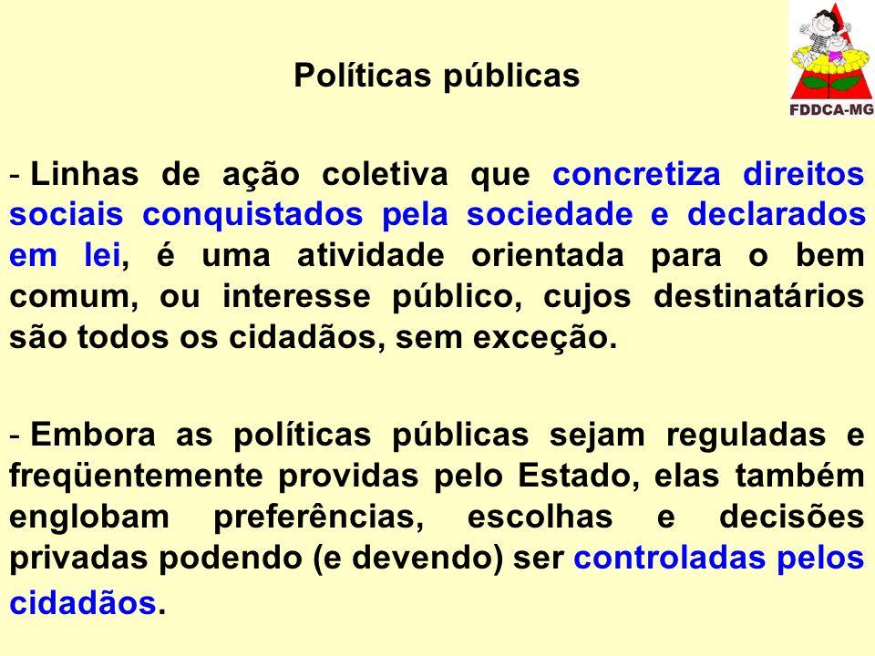 Políticas públicas - Linhas de ação coletiva que concretiza direitos sociais conquistados pela sociedade e declarados em lei, é uma atividade orientad