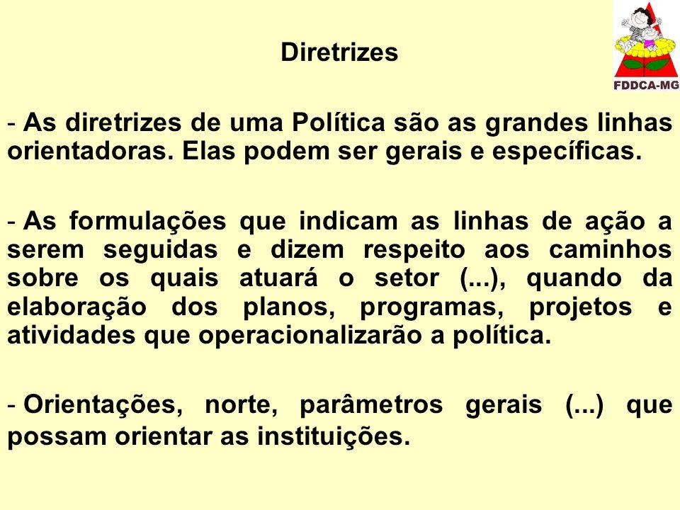 Diretrizes - As diretrizes de uma Política são as grandes linhas orientadoras. Elas podem ser gerais e específicas. - As formulações que indicam as li