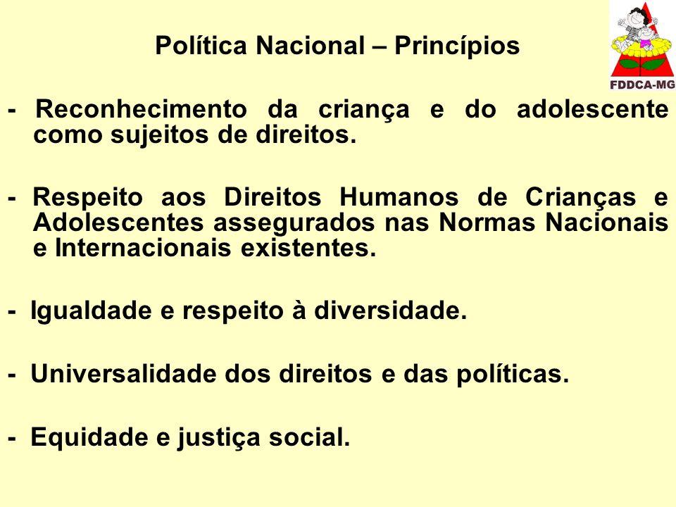 Política Nacional – Princípios - Reconhecimento da criança e do adolescente como sujeitos de direitos. - Respeito aos Direitos Humanos de Crianças e A