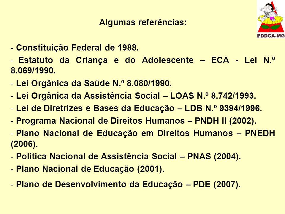 Algumas referências: - Constituição Federal de 1988. - Estatuto da Criança e do Adolescente – ECA - Lei N.º 8.069/1990. - Lei Orgânica da Saúde N.º 8.