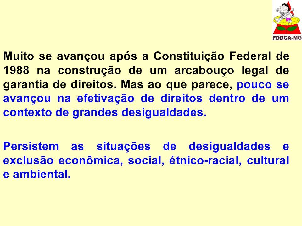 Muito se avançou após a Constituição Federal de 1988 na construção de um arcabouço legal de garantia de direitos.