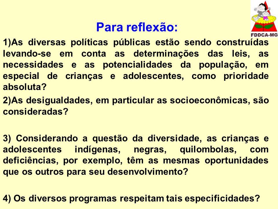 Para reflexão: 1)As diversas políticas públicas estão sendo construídas levando-se em conta as determinações das leis, as necessidades e as potenciali