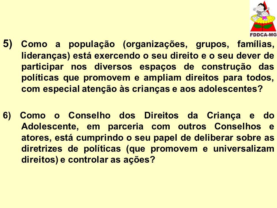 5) Como a população (organizações, grupos, famílias, lideranças) está exercendo o seu direito e o seu dever de participar nos diversos espaços de cons