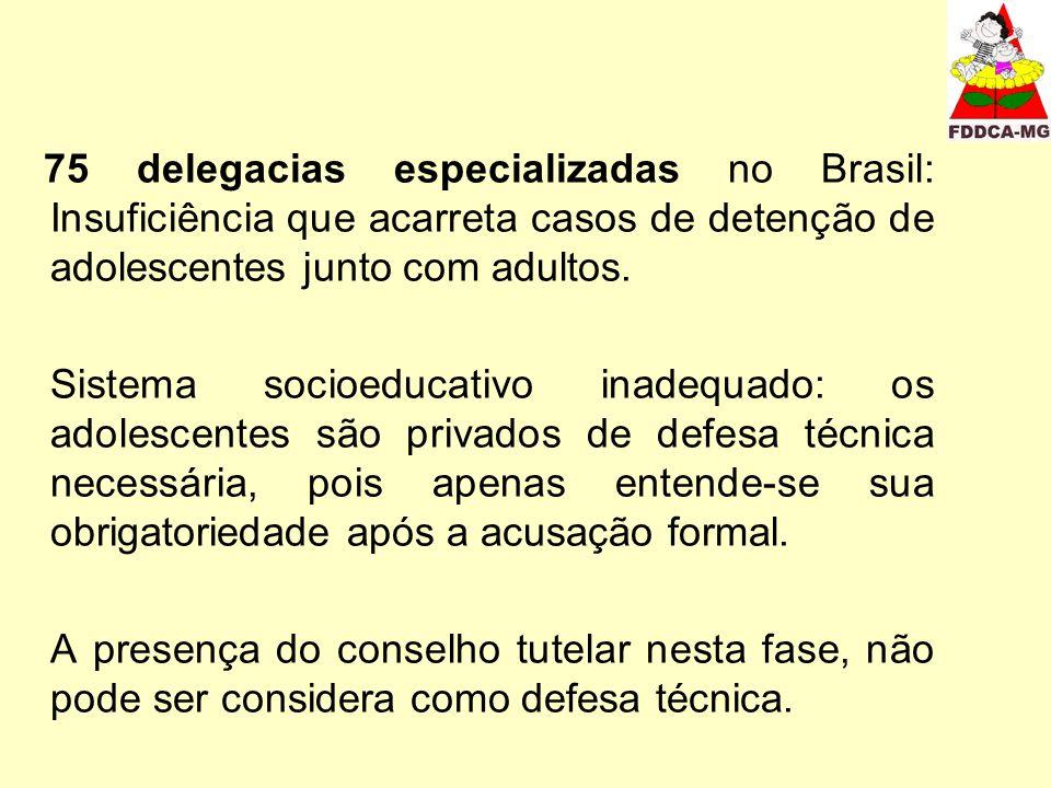 75 delegacias especializadas no Brasil: Insuficiência que acarreta casos de detenção de adolescentes junto com adultos. Sistema socioeducativo inadequ