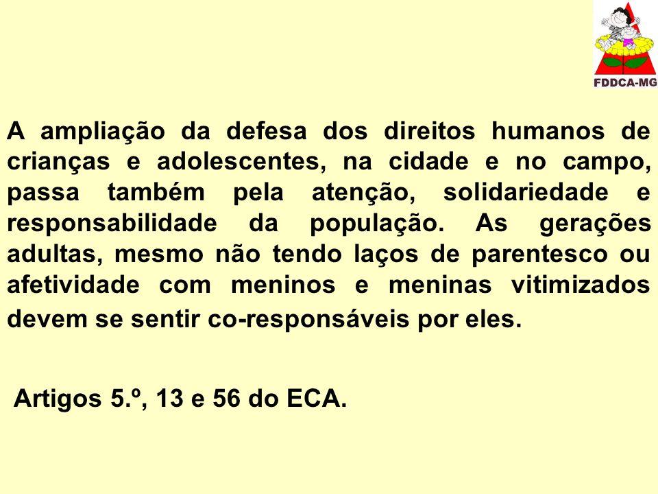 A ampliação da defesa dos direitos humanos de crianças e adolescentes, na cidade e no campo, passa também pela atenção, solidariedade e responsabilidade da população.
