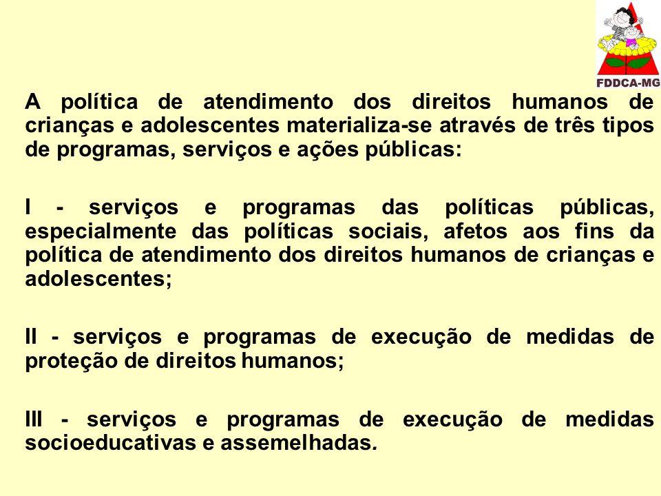 A política de atendimento dos direitos humanos de crianças e adolescentes materializa-se através de três tipos de programas, serviços e ações públicas