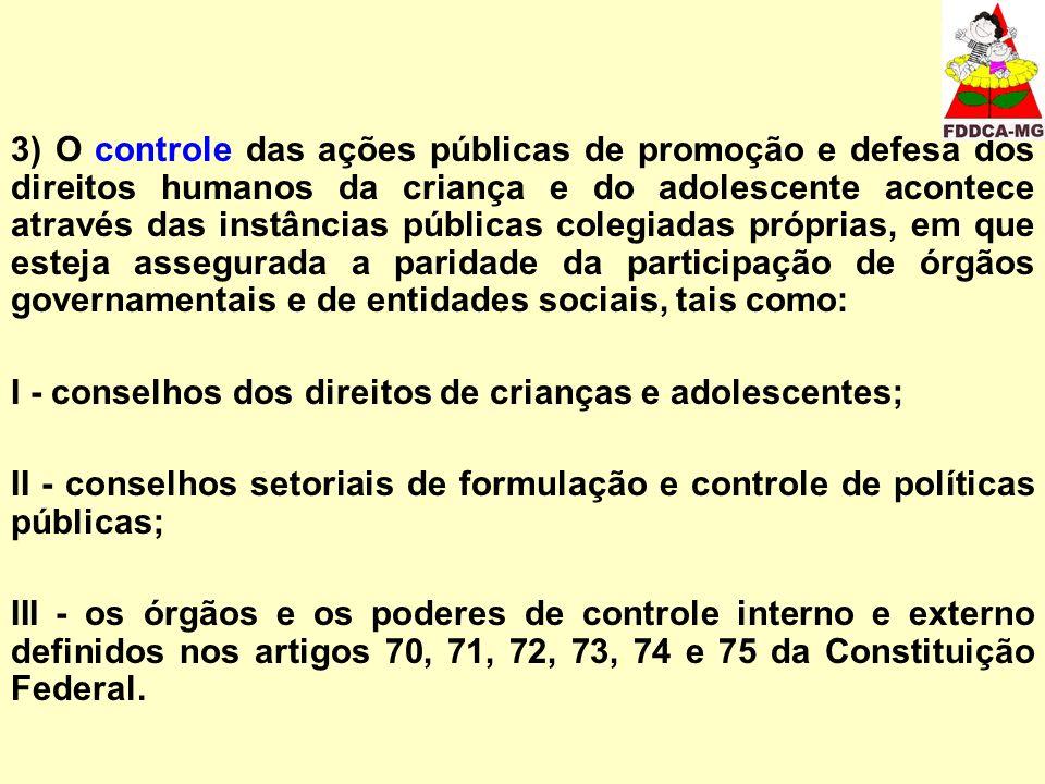 3) O controle das ações públicas de promoção e defesa dos direitos humanos da criança e do adolescente acontece através das instâncias públicas colegi