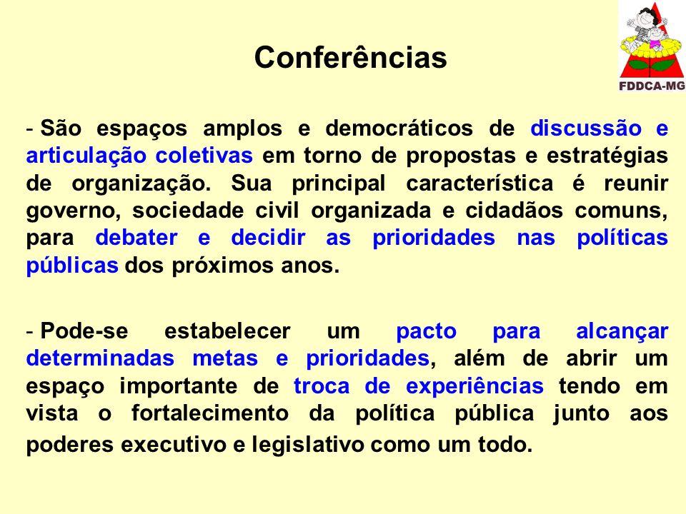 Conferências - São espaços amplos e democráticos de discussão e articulação coletivas em torno de propostas e estratégias de organização.