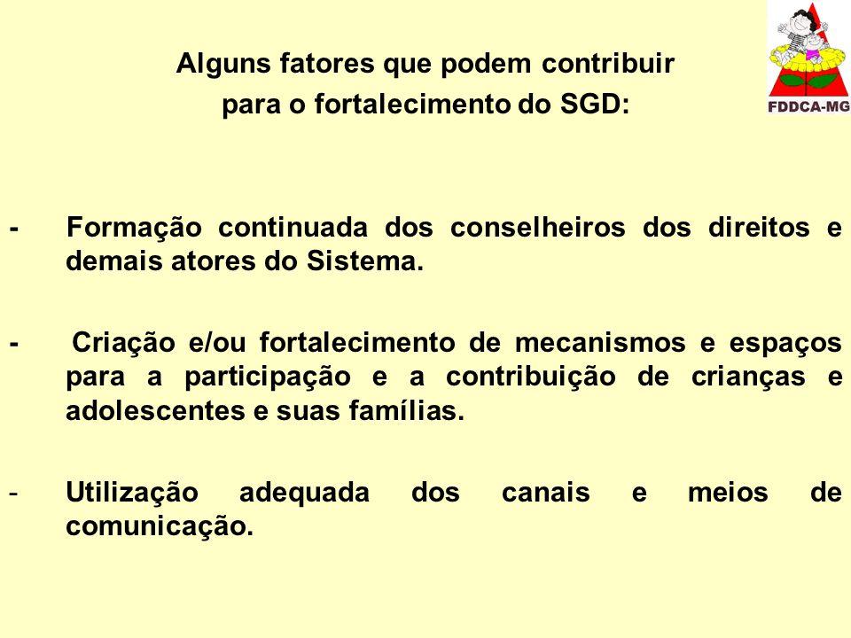 Alguns fatores que podem contribuir para o fortalecimento do SGD: - Formação continuada dos conselheiros dos direitos e demais atores do Sistema. - Cr
