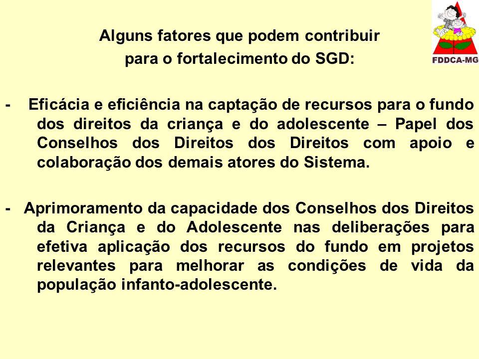 Alguns fatores que podem contribuir para o fortalecimento do SGD: - Eficácia e eficiência na captação de recursos para o fundo dos direitos da criança