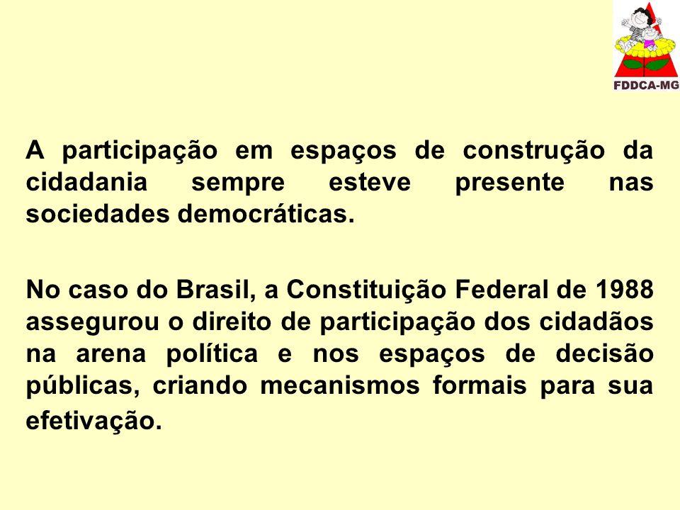 A participação em espaços de construção da cidadania sempre esteve presente nas sociedades democráticas. No caso do Brasil, a Constituição Federal de