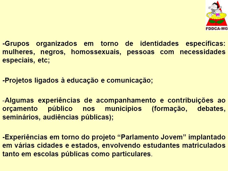 -Grupos organizados em torno de identidades específicas: mulheres, negros, homossexuais, pessoas com necessidades especiais, etc; -Projetos ligados à