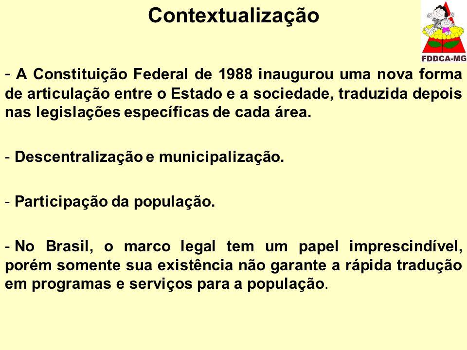 Contextualização - A Constituição Federal de 1988 inaugurou uma nova forma de articulação entre o Estado e a sociedade, traduzida depois nas legislações específicas de cada área.