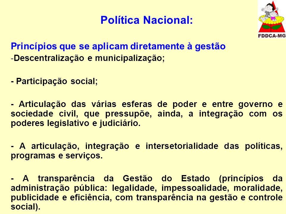 Política Nacional: Princípios que se aplicam diretamente à gestão -Descentralização e municipalização; - Participação social; - Articulação das várias